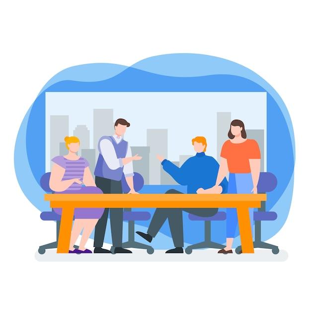 Discussion de travail en équipe Vecteur Premium