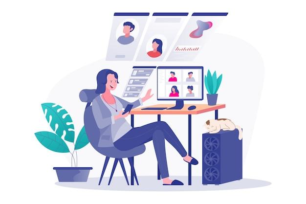 Discussions à Distance à L'aide De Smartphones Et D'ordinateurs, Visioconférence De Femmes Avec Des Collègues, Réseaux Sociaux Vecteur Premium