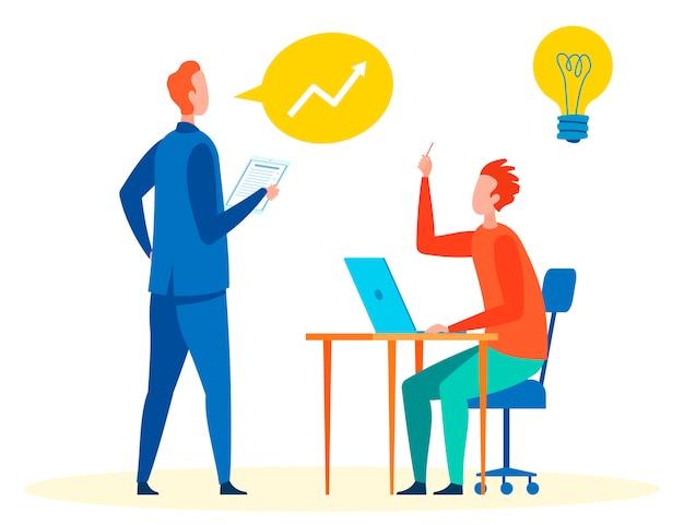 Discuter des idées au travail illustration vectorielle Vecteur Premium