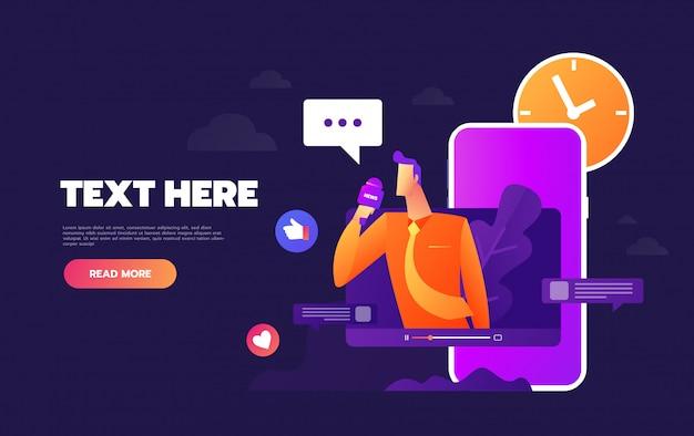 Discuter via internet à l'aide d'un modèle de page de renvoi pour téléphone mobile Vecteur Premium