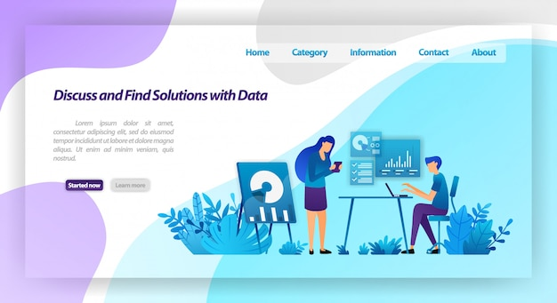 Discutez et trouvez des solutions aux problèmes en analysant les données. travailleurs réunis pour un dialogue d'entreprise. modèle web de page de destination Vecteur Premium