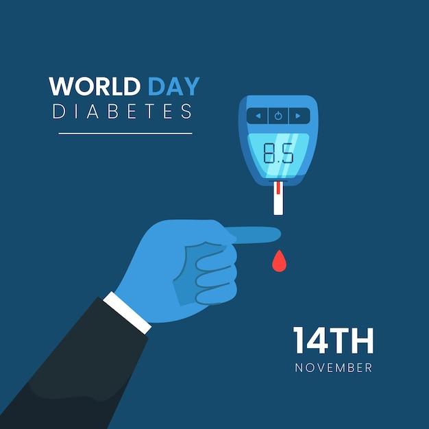 Dispositif De La Journée Mondiale Du Diabète Design Plat Vecteur gratuit