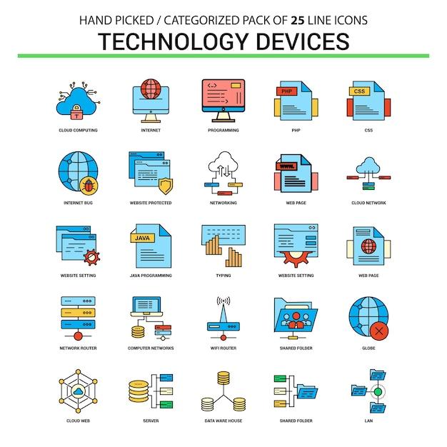 Dispositif de technologie ligne plate icon set Vecteur Premium