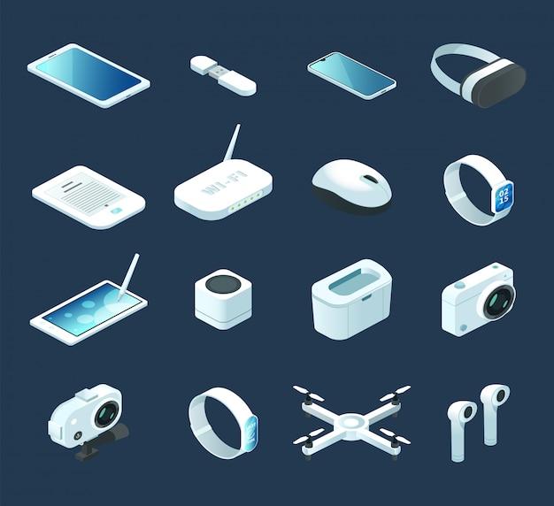 Dispositif De Technologie Numérique Isométrique. Sertie De Gadgets électroniques, Quadcopter Vecteur Premium