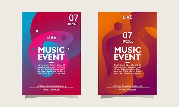 Disposition d'affiche d'événement de musique et modèle avec dessin abstrait coloré Vecteur Premium