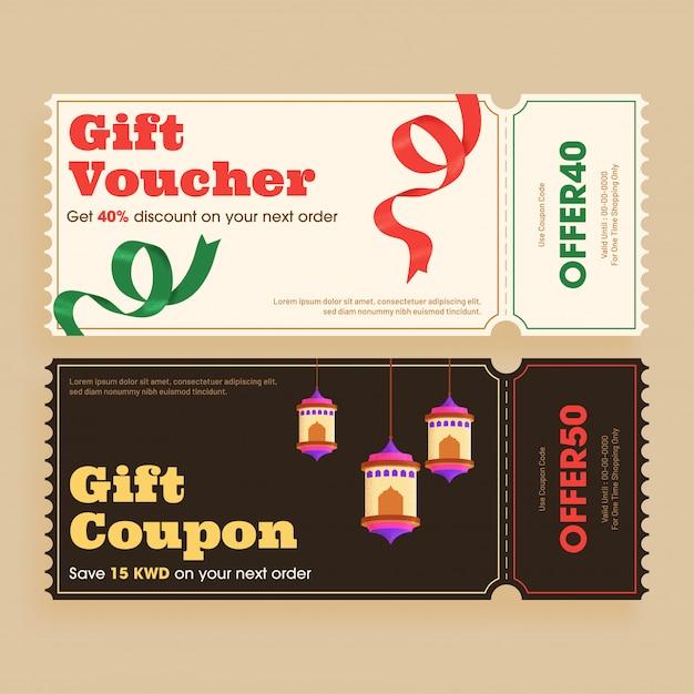 Disposition de bons ou de bons cadeaux de style rétro avec une réduction différente Vecteur Premium