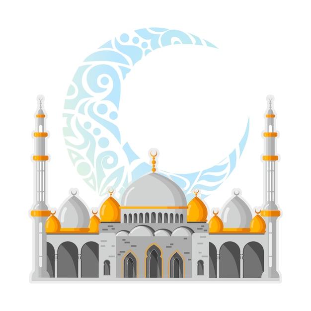 Disposition de carte de voeux de vecteur ramadan kareem avec mosquée, minarets, lampes brillantes arabe et décor ornemental. Vecteur Premium