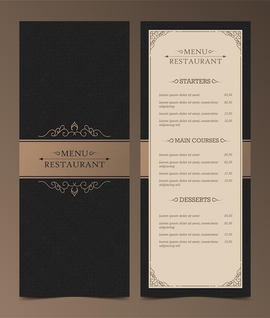 Disposition Du Menu De Luxe Avec Des éléments Ornementaux. Vecteur Premium