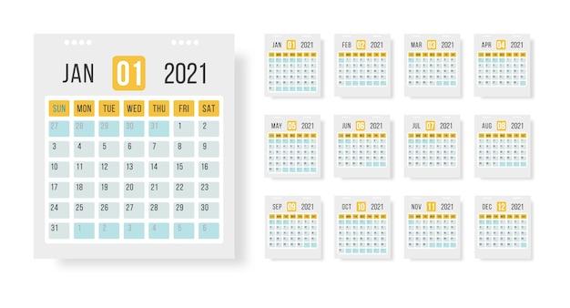 Disposition Du Modèle De Calendrier 2021. Calendrier Annuel De 12 Mois Fixé En 2021 Sur Fond Blanc Pour L'organisation Et Les Entreprises. Illustration Pour Le Web, Rappel, Planificateur. Vecteur Premium