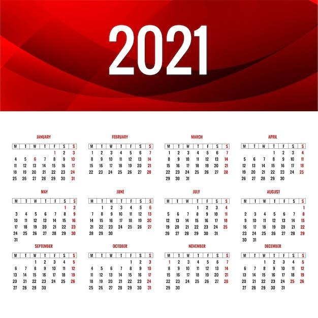 Disposition élégante Du Calendrier 2021 Avec Fond De Vague Vecteur gratuit