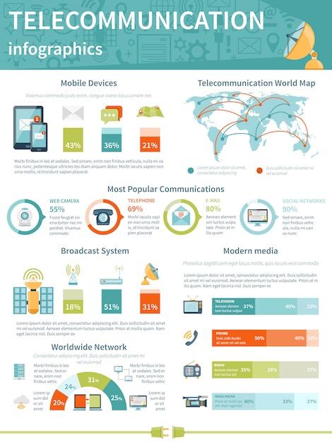 Disposition d'infographie de télécommunication Vecteur gratuit
