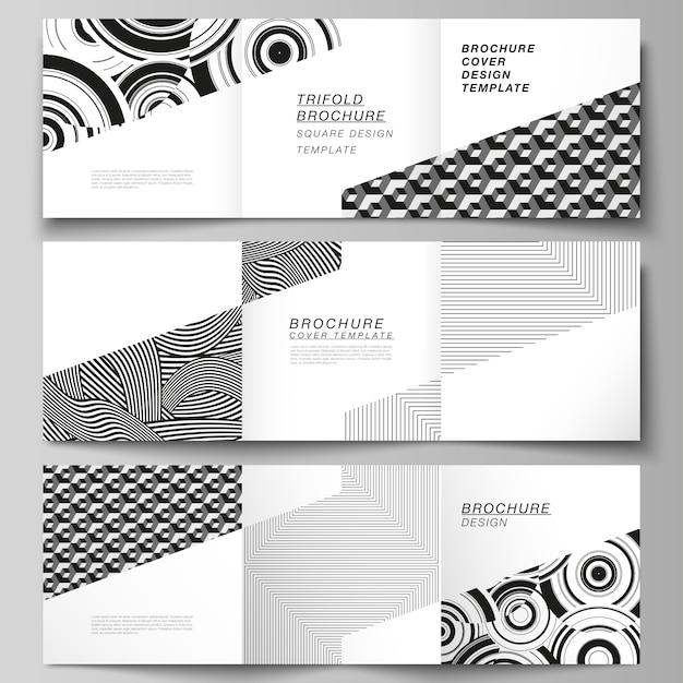 La Disposition Minimale Du Format Carré Couvre Les Modèles De Conception Pour Brochure à Trois Volets, Dépliant, Magazine. Vecteur Premium