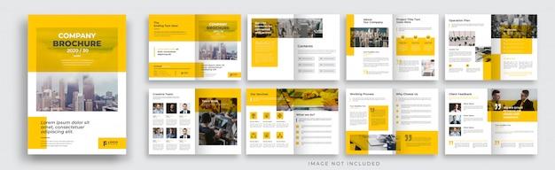 Disposition De Modèle De Brochure D'entreprise Jaune De 16 Pages Vecteur Premium