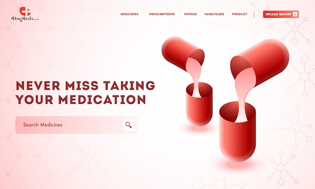 Disposition de modèles de sites web créatifs avec des médicaments Vecteur Premium