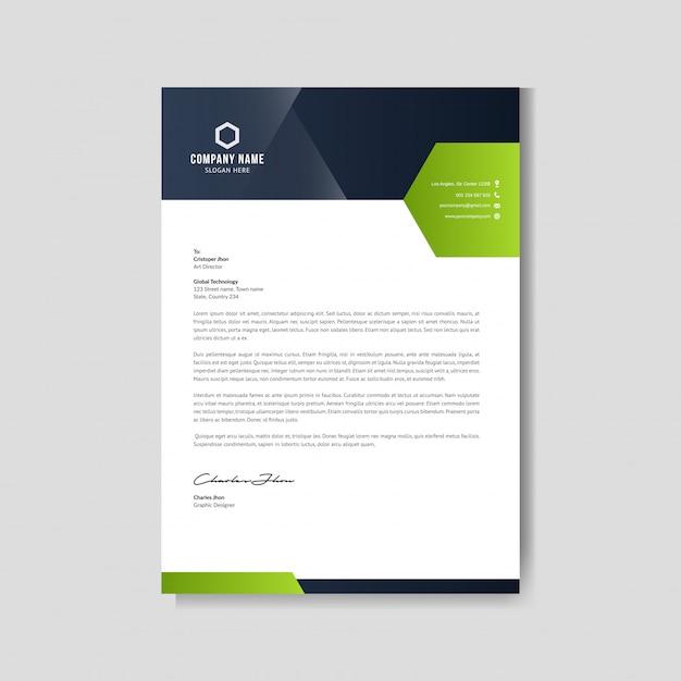 Disposition De Papier à En-tête Vert Moderne Vecteur Premium