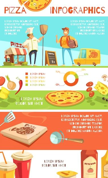 Disposition plate d'infographie de pizza avec des informations sur les ingrédients de la pizza Vecteur gratuit