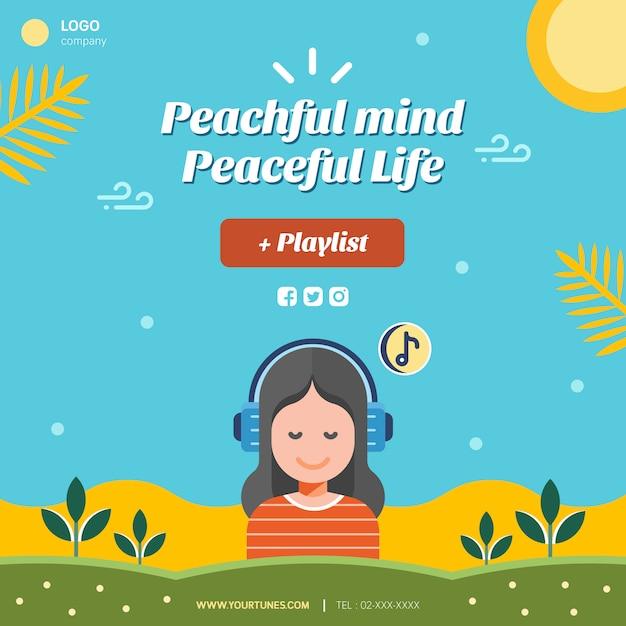 Disposition des publications sur les médias sociaux de peaceful life Vecteur Premium