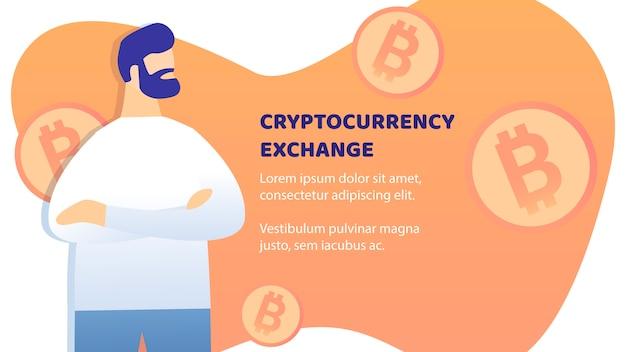 Disposition de vecteur bannière plat d'échange de crypto-monnaie Vecteur Premium