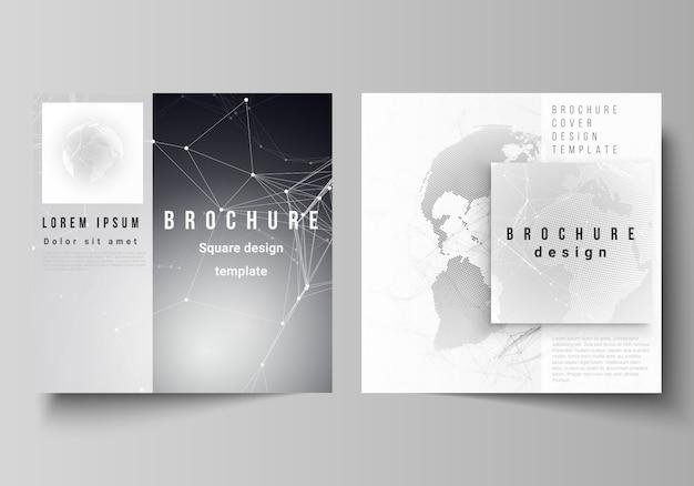 Disposition de vecteur de deux format carré couvre les modèles de conception pour la brochure Vecteur Premium