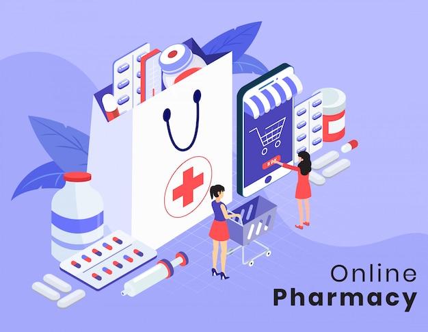 Disposition de vecteur isométrique pharmacie en ligne Vecteur Premium