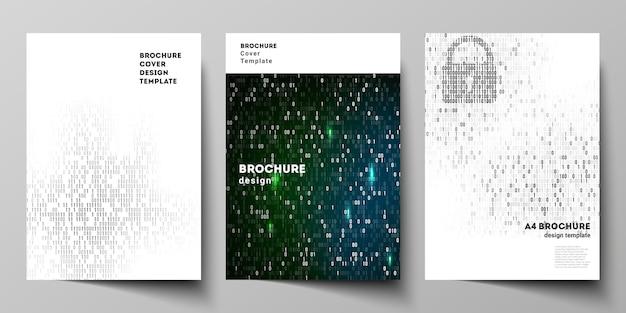 Disposition de vecteur de modèles de conception de maquette de couverture format a4 pour brochure Vecteur Premium