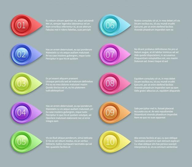 Disposition de vecteur de texte numéroté avec des balles de pointage 3d. illustration infographique du plan du pointeur numéro Vecteur Premium
