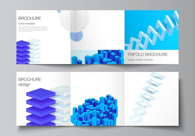 Disposition Vectorielle De Modèles De Conception De Couvertures Carrées Pour Brochure à Trois Volets Vecteur Premium