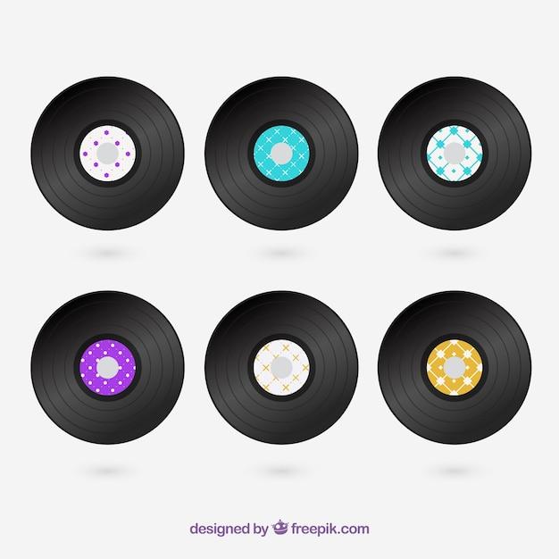 Disque vinyle ensemble Vecteur gratuit