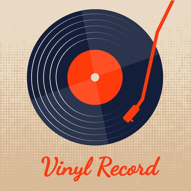 Disque vinyle vectoriel avec graphisme classique Vecteur Premium
