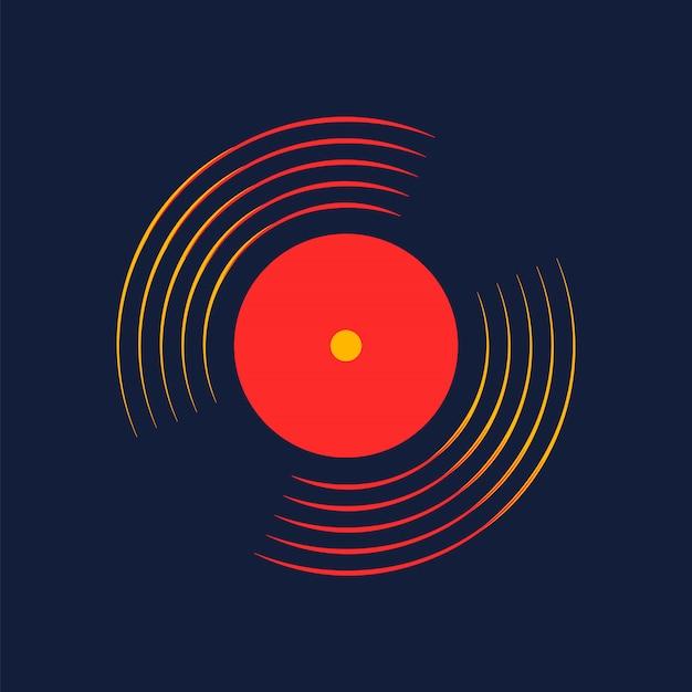 Disque vinyle vectoriel avec mot disque vinyle Vecteur Premium