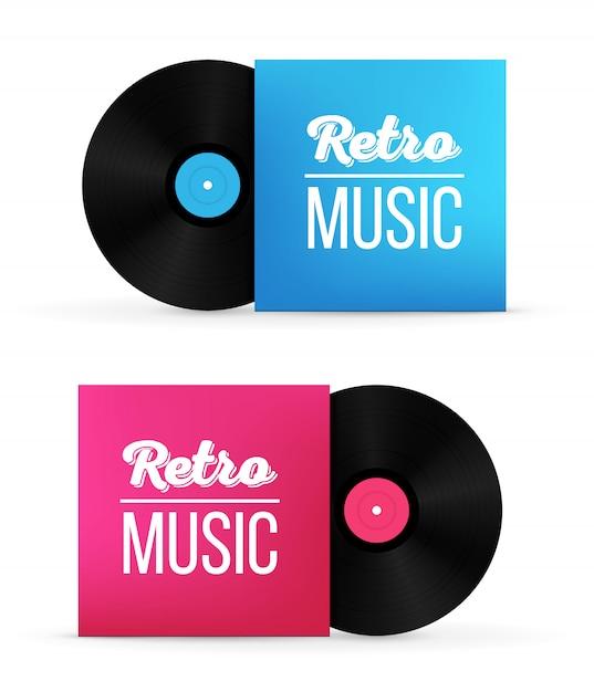 Disques de vinyle dans des boîtes en papier Vecteur Premium