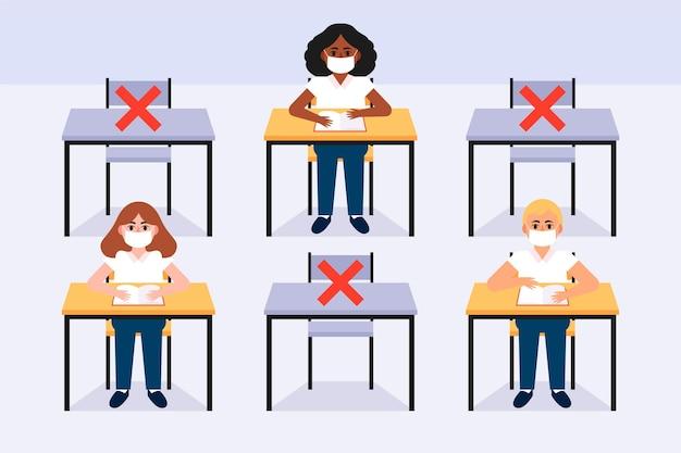 Distance Sociale En Classe Nouvelle Normale Vecteur gratuit