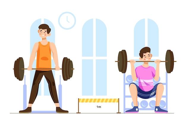 Distance Sociale Dans Le Concept De Gym Vecteur gratuit