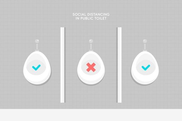 Distance Sociale Dans La Représentation Des Toilettes Publiques Vecteur gratuit