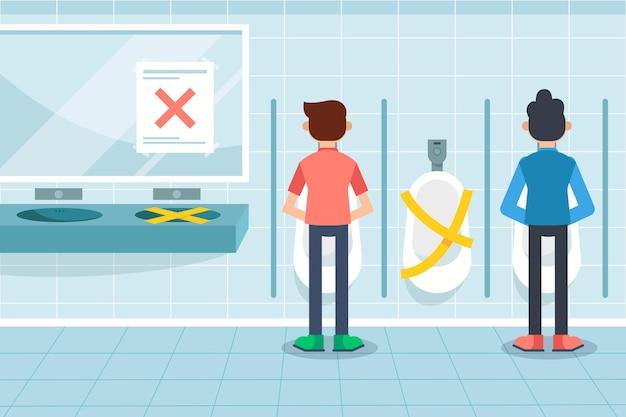 Distance Sociale Dans Les Toilettes Publiques Vecteur Premium