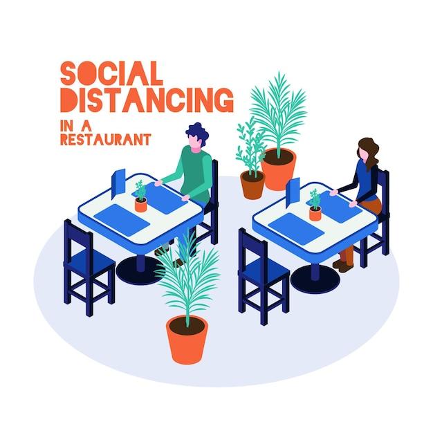 Distanciation Sociale Au Restaurant Illustrée Vecteur gratuit