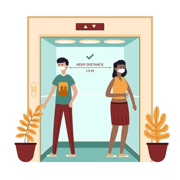 Distanciation Sociale Dans Un Ascenseur Vecteur gratuit