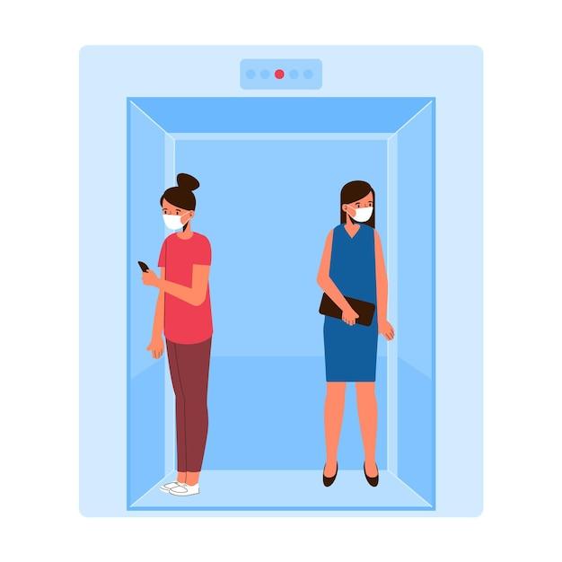 Distanciation Sociale Dans La Conception D'un Ascenseur Vecteur gratuit