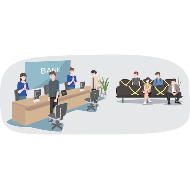 Distanciation Sociale Dans L'illustration Des Services Bancaires Vecteur Premium