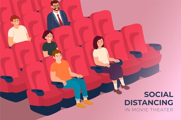 Distanciation Sociale Dans Les Salles De Cinéma Vecteur gratuit