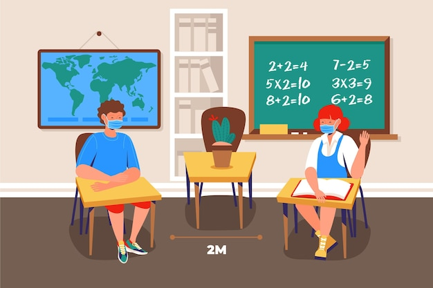 Distanciation Sociale à L'école Vecteur gratuit