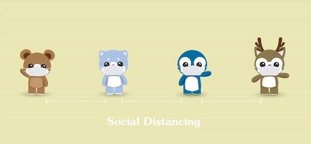 La Distanciation Sociale Entre Les Personnes. Personnel, Soins De Santé, Protection Contre Les Maladies, Coronavirus, Covid-19 Vecteur Premium