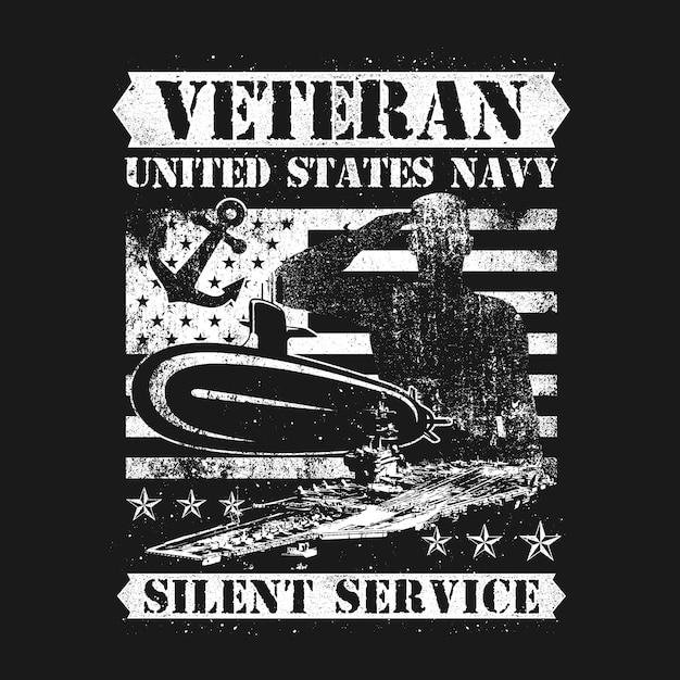Distant style american veteran navy service silencieux Vecteur Premium