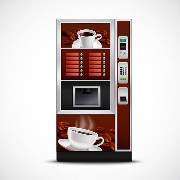 Distributeur automatique de café réaliste Vecteur gratuit