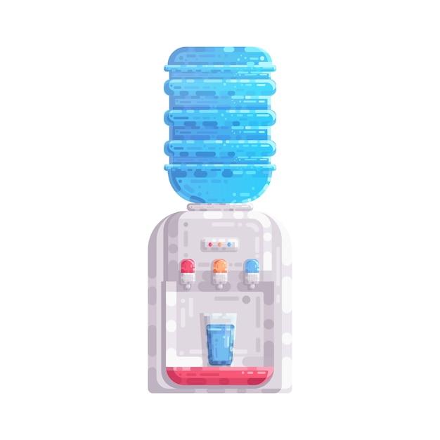 Distributeur de refroidisseur d'eau avec bouteille en plastique gallon vector illustration Vecteur Premium