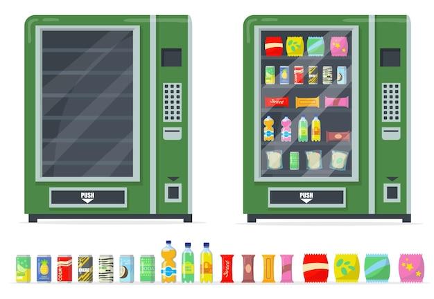 Distributeurs Automatiques Et Ensemble De Collations. Chips, Bars, Boissons En Conserve Et Automatiser Avec Des étagères Vides. Vecteur gratuit