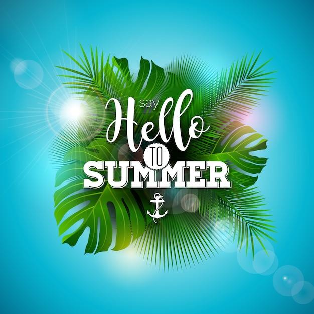 Dites bonjour à l'illustration estivale avec des plantes tropicales Vecteur Premium