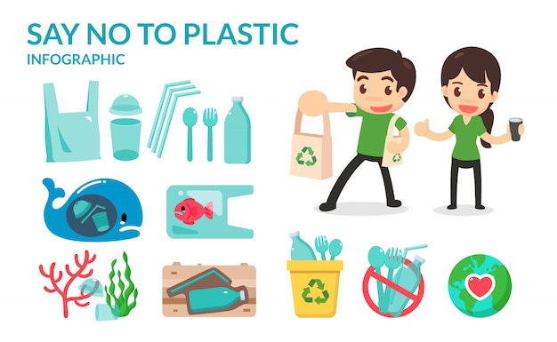 Dites non aux tubes de paille, aux sacs et aux bouteilles en plastique Vecteur Premium