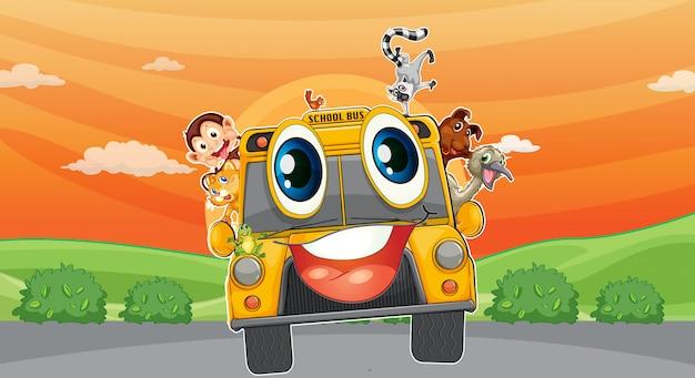 Divers animaux dans un autobus scolaire Vecteur gratuit