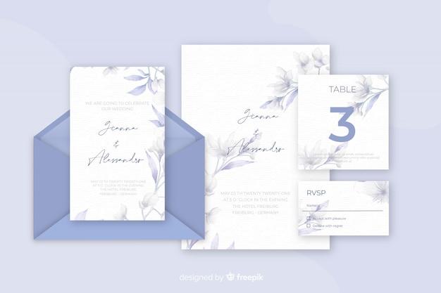 Divers articles de papeterie pour des invitations de mariage bleues nuances Vecteur gratuit